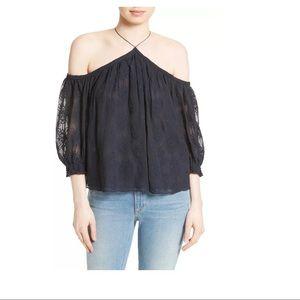 NEW Rebecca Taylor Cold Shoulder Blouse Indigo